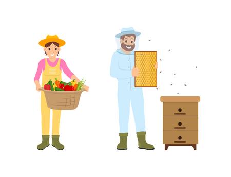 Femme et homme agriculteurs isolés icônes vectorielles. Agriculteurs avec panier de légumes et nid d'abeilles avec des abeilles. Apiculteur et période de travail de récolte