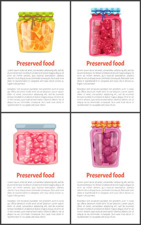 Preserved Natural Food in Jars Info Posters Set Çizim
