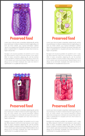 Berry and Vegetable Preserved Food Vector Poster Фото со стока - 112304910