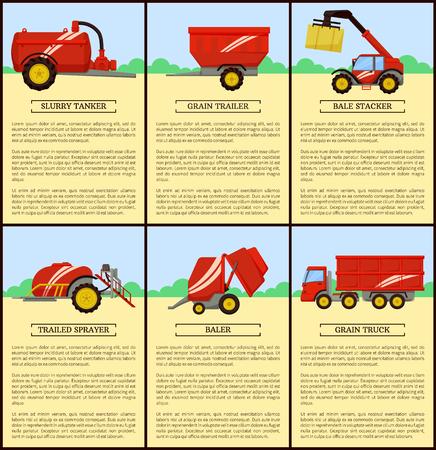 Citerne à lisier et remorque à grains, affiches de machines agricoles avec texte. Empileur de balles et compresse de foin. Camion de grain, vecteur de pulvérisateur traîné
