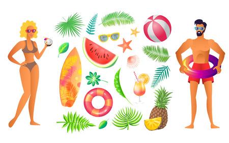 Summer Beach Party Banner, Vector Placard Sample Ilustração