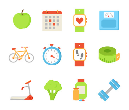Wristwatch and Apple Fruit Set Vector Illustration Ilustração