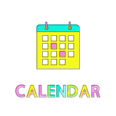 Calendar with highlighted days, event during month. Appointments and reminder of meetings training. Page with binder and dates isolated icon vector