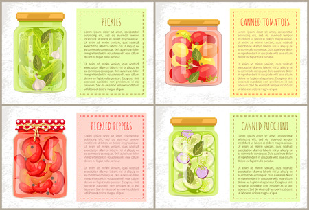Pickles in marinate, canned tomatoes with bay-leaf and dill and zucchini, pickled peppers. Preserved foodstuff for healthy eating vector flat poster. Ilustração