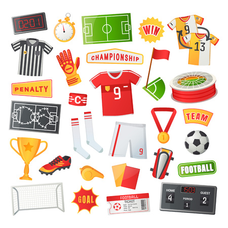 Soccer symbols vector banner. Uniform and awards, scoreboard and stadium, stopwatch and whistle, gate and ticket, penalty and field, team championship