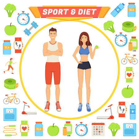 Sport and Diet People Icons Vector Illustration