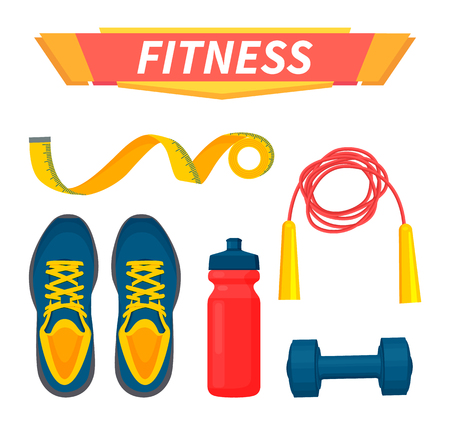 Fitness sport items isolated icons set vector. Sneakers and meter measurement roulette, water in plastic bottle, dumbbells and jumping rope exercising 版權商用圖片 - 112200770