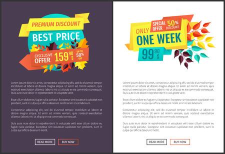 Carteles de descuento premium con muestra de texto. Propuestas de temporada para clientes al mejor precio solo una semana. Vector web exclusivo de liquidación de producción