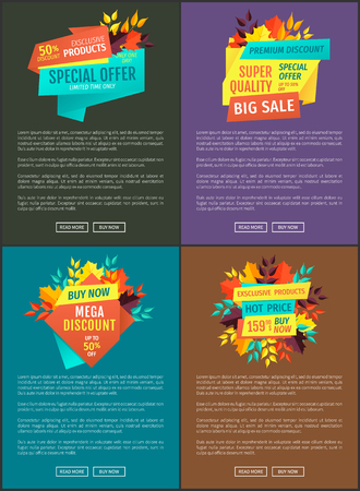 Special offers super quality set of posters. Autumnal sellout of natural goods. Off price reduction clearance and promotion exclusive sale vector Illusztráció