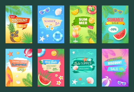 Summer Sale Best Discount Set Vector Illustration
