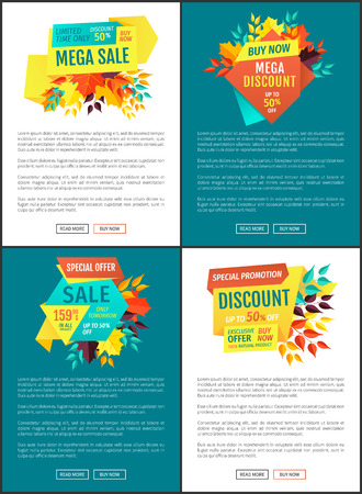 Mega sale discount posters set. Reduction limited time only autumnal promotion. Proposition of market reduced price banners and text sample vector