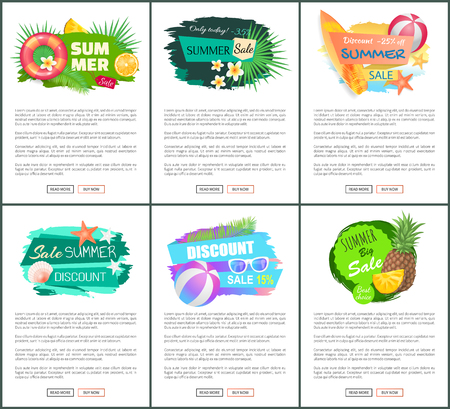 Sale banners with pineapple, watermelon, orange and sunglasses, lifebuoy. Set summer promo posters with exotic fruits and summertime accessories vector 向量圖像