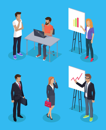 Businessman and secretary woman set of working people 3d isometric. Developer using laptop presenter with whiteboard and charts information vector