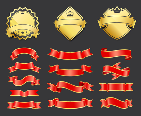 Gold coats of arms with ribbons decoration vector Illustration