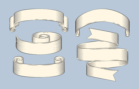 Hand drawn sketch set of decorative ribbon vector icon. Monochrome shaped stripes, curly and scroll, horizontal rolled strings, lineart outline style Ilustrace