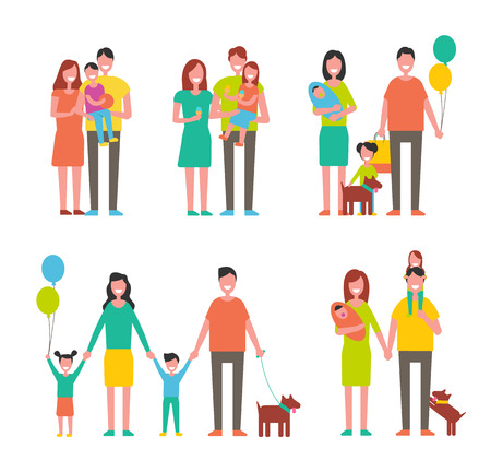 Family members cartoon characters spend time together. Parents and kids, children play with pets, happy relatives mother, father son and daughter vector Illusztráció