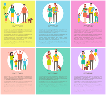 Happy family loving parents with children. Posters set with text, kids with toys, eating ice cream and holding balloon. Husband and spouse vector
