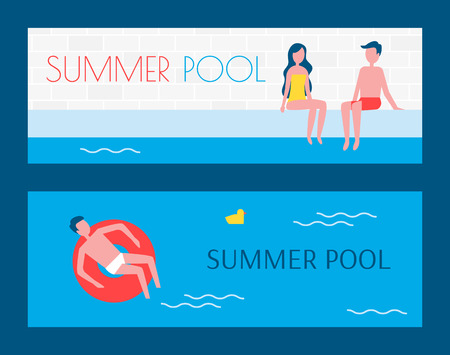 Summer swimming pool set of posters with text sample. People floating on water lifeline couple sitting on poolside enjoying summer vacation vector Çizim
