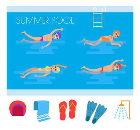 Summer Pool People and Icons Vector Illustration Çizim