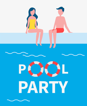 Pool Party Couple Poster Text Vector Illustration Ilustrace