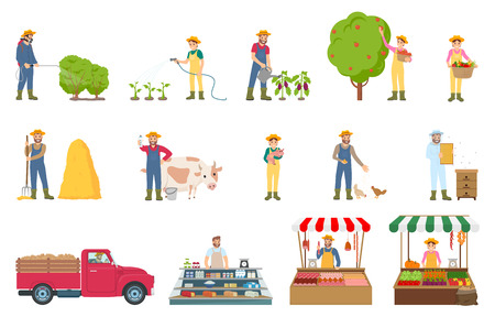 L'agricoltura del lavoro dell'agricoltore ha isolato le icone impostate il vettore. L'uomo spruzza i cespugli, la stagione della raccolta e si prende cura di maiali, mucche e galline. Mercato e vendita
