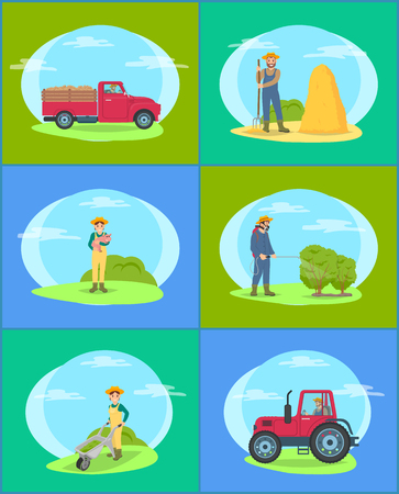 Farming person and driving lorry, tractor transporting production of farm. Woman with piglet and trolley with compost. Man spraying bushes set vector