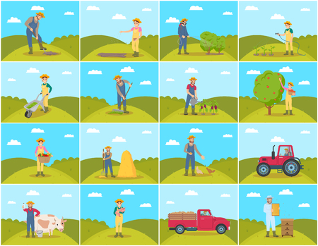 Farmer with pig and cow breeding of domestic animals. Lorry and tractor, seeds sowing by farming woman, Harvesting and compost fertilizing set vector Illustration