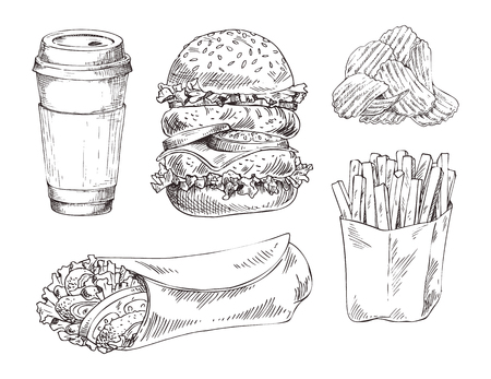 Fast food set hand drawn vector monochrome illustration. Double burger and chips, french fries and doner kebab, coffee paper cup sketch icons for menu Illustration