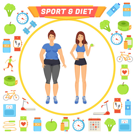 Sport and Diet Icons and Lady Vector Illustration