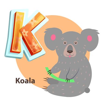 Cartoon Koala with Branch for K Alphabet Letter