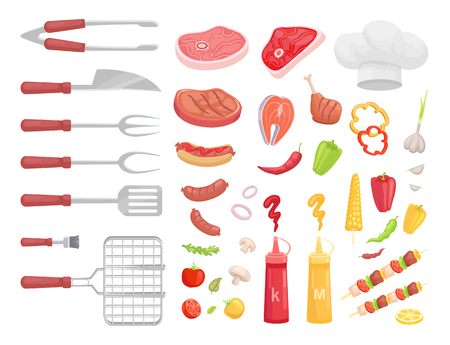 BBQ set, barbecue equipment and meat, vector icon. Grille and spatula, fork and small brush, knife and forceps, steak and sausage, sauce and veggie Illustration