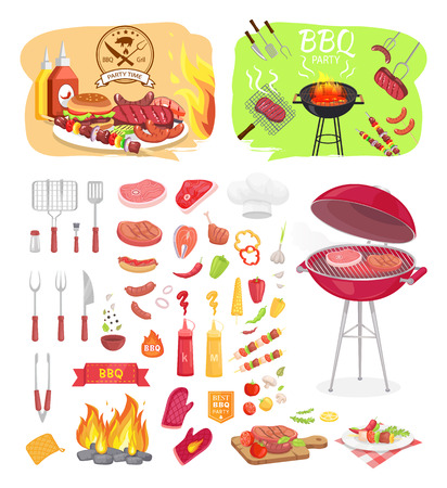 BBQ Grill Party Zeit isolierte Icons Set Vektor. Grillrost zum Braten von Fleisch. Serviert Beefsteak mit Gemüse an Bord. Spieß mit Zwiebeln und Schweinefleisch