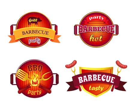 BBQ Party Set Icons Barbecue Vector Illustration Illustration