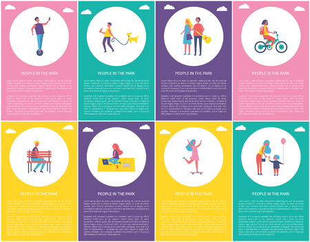 People in park walking dog, riding bicycle, sitting on bench. Working on blanket with laptop, skating and eating ice cream. Woman and man vector set