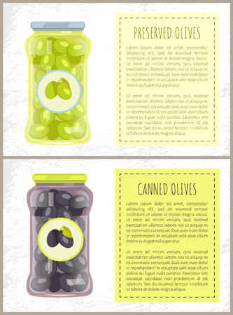 Canned black and green olives preserved food in glass jar vector poster, text sample. Traditional mediterranean cuisine pickled marinated veggies