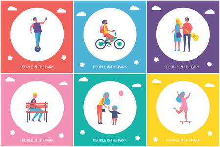 People resting in park cartoon banner vector set. Kids riding bike, on skateboard and unicycle, couple walking and guy sitting on bench, mom and child