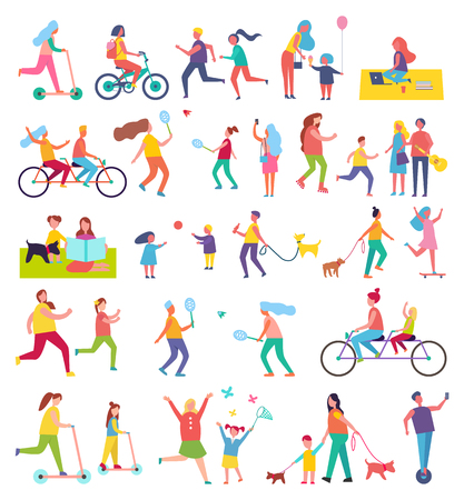 Couple running and riding bike isolated icons set. Butterfly cathing, working in park, walking dog, eating ice cream. People playing tennis vector
