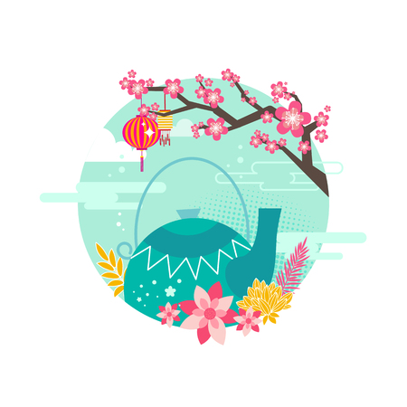 Mid autumn festival emblem. Blooming sakura tree with chinese lantern and traditional porcelain ornate teapot east feast poster with event symbols. Illustration