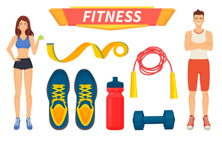 Fitness sport people isolated icons vector. Female and male leading healthy lifestyle, eating fresh food. Equipments for training in gym, water bottle