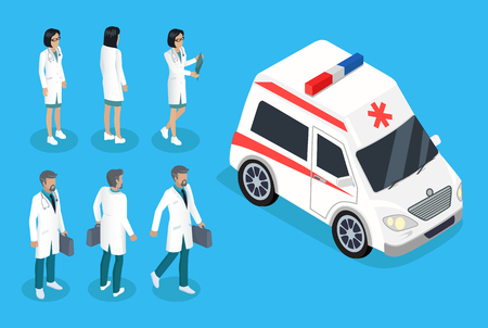 Nurse and doctor near ambulance car color banner, isolated vector illustration of woman and man in robes near white vehicle, therapists and pediatricians