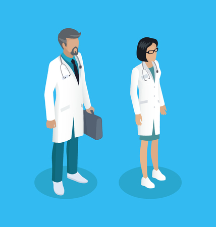 Medical workers people wearing white gowns set isometric 3d. Briefcase with medicine woman with stethoscope. Diagnostic team of doc first aid vector