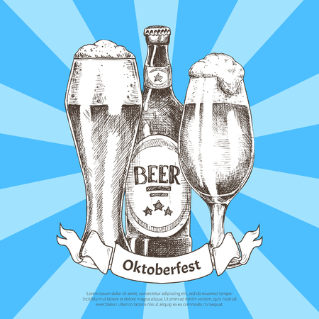 Oktoberfest beer festival invitation color card, vector illustration of ale bottle standing between pair of glass goblets with foamy alcohol drink