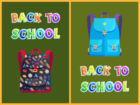 Back to school backpack poster and text. Schoolbag with pencil hearts abc and flowers pattern. Closed pockets, pupil rucksack discipline vector
