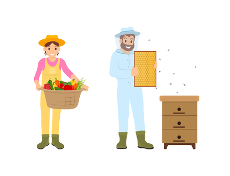 Woman and man farming people isolated icons vector. Farmers with vegetables basket and honeycomb with bees. Beekeeper and harvesting working period Stock Illustratie