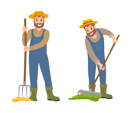 Farming people working on land with rake and hayfork. Set of isolated icons of people with rural tools. Busy farmers smiling wearing uniform vector