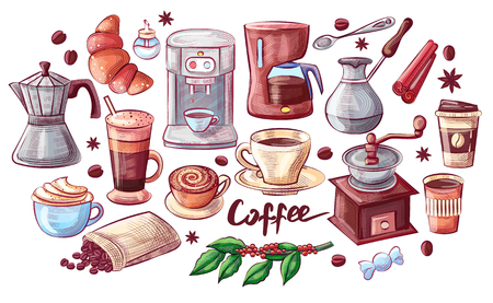 Coffee Cup and Dessert Poster Vector Illustration