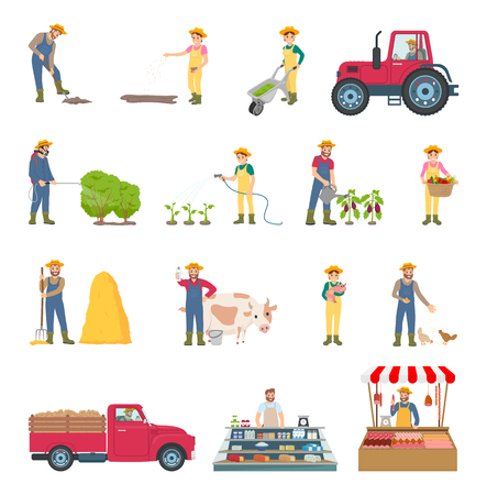 Farmer Work Agriculture Set Vector Illustration Stock Photo