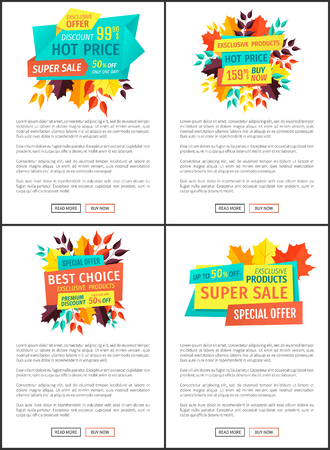Hot price best choice posters. Discounts and autumn leaves o banners as decoration. Offer and deal business proposition exclusive reduced price vector Ilustração