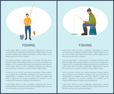 Fishing man fishery posters set with text. Male sitting and waiting for fish to catch bail. Fisherman with rod outdoor activities by water vector Illustration