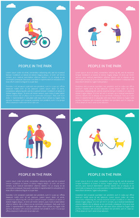 People in park having fun isolated vector cartoon posters set. Girl riding bicycle and kids playing volleyball, boy walking with dog and young couple